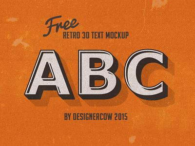 Free PSD Retro 3D Text Mockup free free psd freebie retro text vintage 3d retro