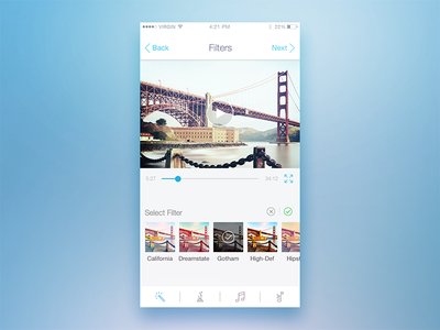Filter screen iphone ios india bangalore capture editing photography album app ui design player video