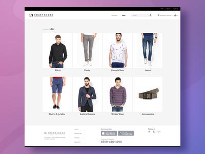 Category Page street cart clothing shoes wears india bangalore shopping cart category psd website ecommerce