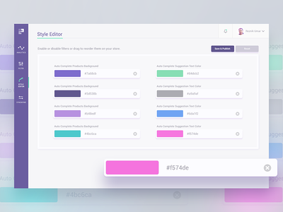 Style Editor bangalore india psd color picker style analytics dashboard report graph listing filter editor