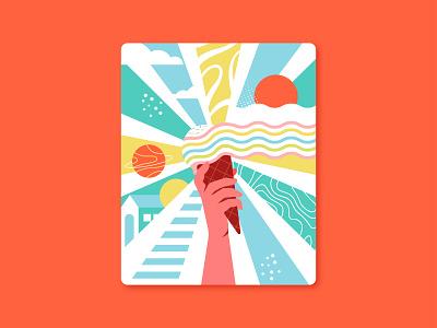 Ice Cream Revolution latest creative abstract colors minimal vector illustration
