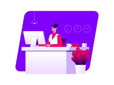 Receptionist - Illustration ui character minimal creative vector dribbble colors illustration