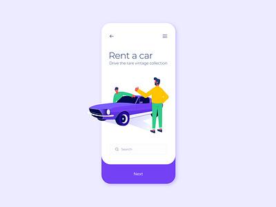 Ui - Rent a Car car rental app interface ui  ux ui design combination abstract digital art colors dribbble minimal vector ui design illustration
