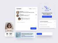 Social components tagging links components cardstock upload file uploading accordion commenting ui dashboard product design minimalism