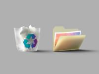 Skeuomoprhic Icons octanerender folder trashcan 3d 3d art illustration iconset icons neumorphism neuomorphic skeuomorph skeuomorphism skeuomorphic