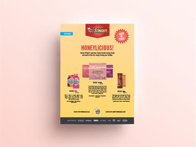 Honey Stinger Print Ad honey stinger fp full page graphic design design creative cloud indesign illustrator adobe advert print