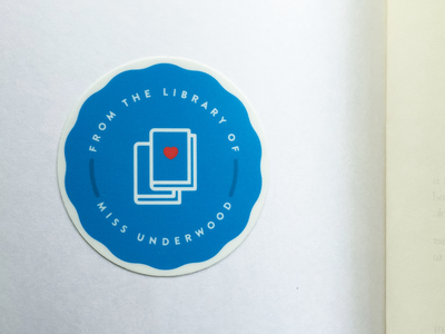 Bookplate iconography sticker mule circle library stamp heart icons badge books bookplate teacher