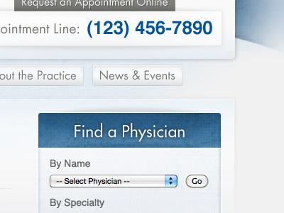 Find a Physician texture blue navigation