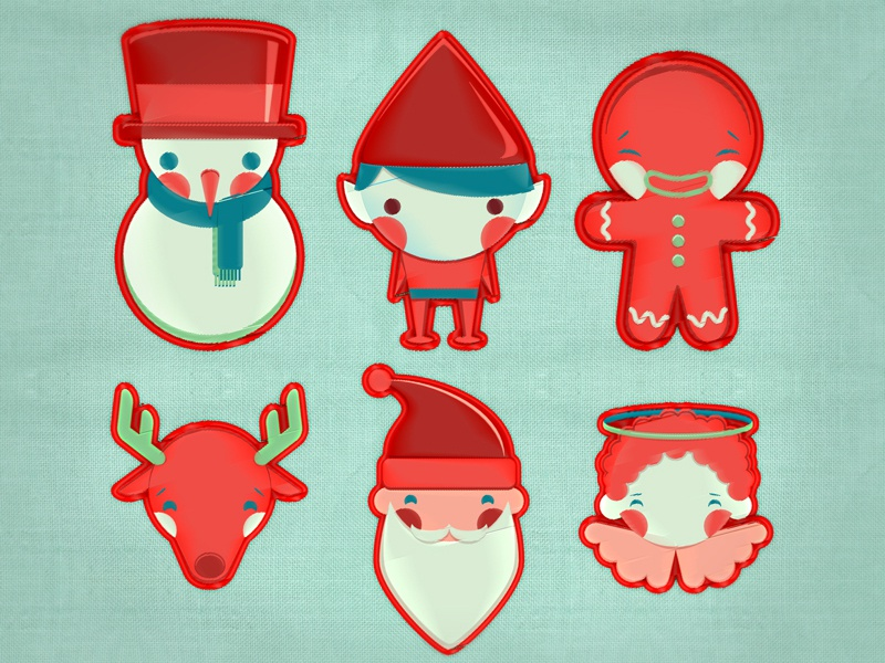 So, it is christmas II elf cookie angel icon santa claus christmas illustration vector embroidery characters snow santa
