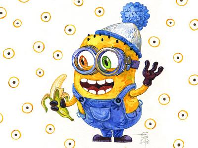 Minion Phil yellow banana humour aquarelle watercolour character funart illustration fun minion