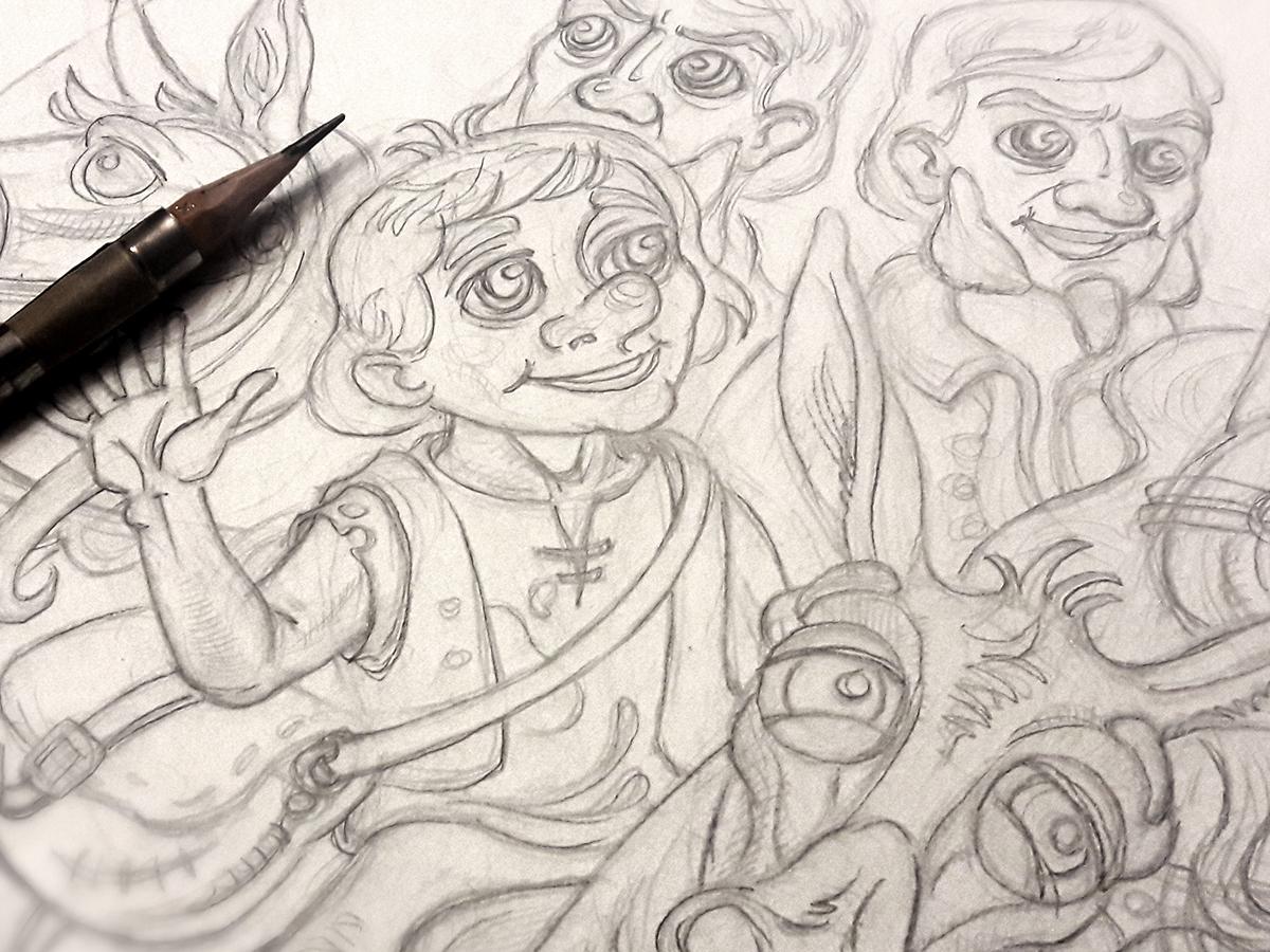 Sketch drawing happy cute andersen fun animal character illustration