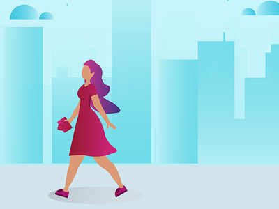 shopping mode on lady with purse illustration market city design colour girl flat unpacking shopping purchase plant online illustration character