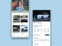 Car sell and buy app home page and product page UI