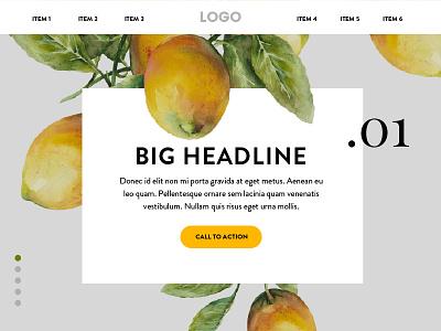 Lemons ui design fruit produce food web design homepage ux ui lemons yellow