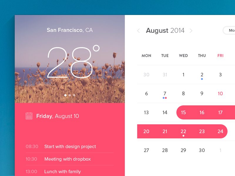 Calendar Window (freebie) calendar free freebie design flat weather notes widget psddd photoshop