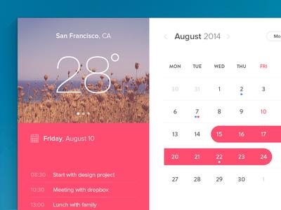 Calendar Window (freebie) calendar free freebie design flat weather notes widget psddd photoshop