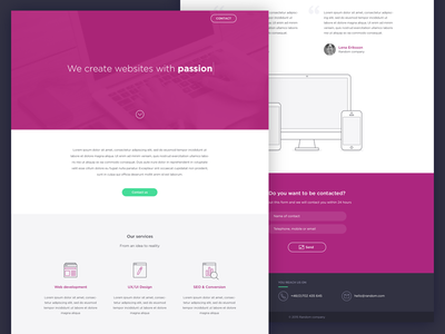 Landing page for a web design company