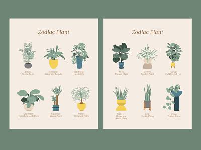 Zodiac Plant branding graphic design illustrator house abstract illustration abstract interior illustration hunker interior home garden plants illustration