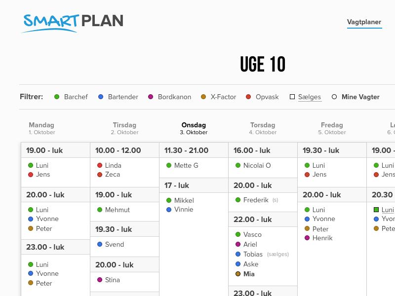 Smartplan Dribbble roster smartplan smart plan schedule calendar sketchapp