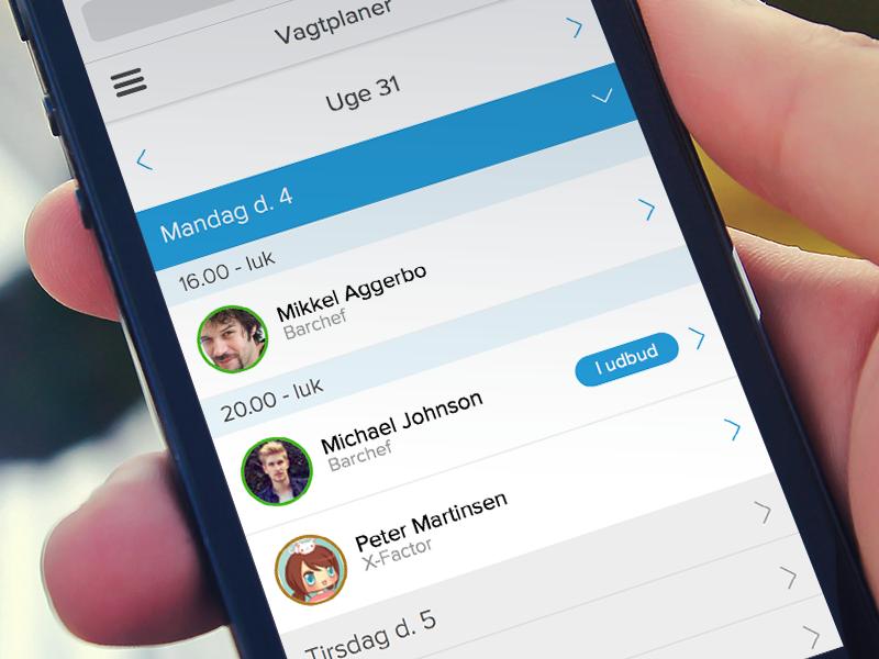 Roster handling on iPhone iphone ios7 blue navigation week roster handling avatar