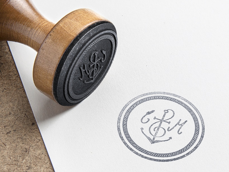 Personal monogram for a upcoming wedding stamp monogram identity personal anchor