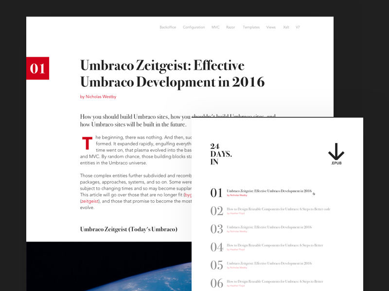 24 Days In Umbraco news reading epub calendar christmas umbraco blog
