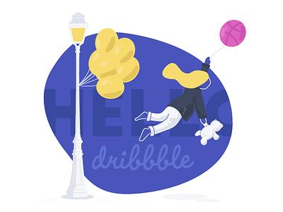 Hello Dribbble! A Fantastic Journey - Part I paris girl character balloon dreamlike dream hello dribbble debut
