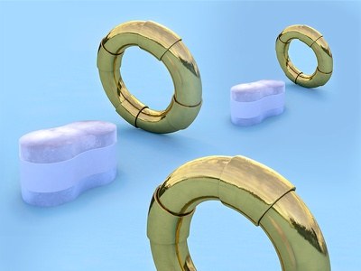 Buoys will be buoys c4d render ring pool pattern marble gold float buoy 3d