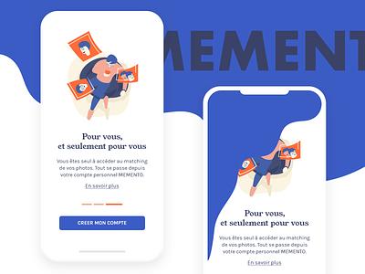 Memento chill: Mobile iphonex ui startup chill illustration flat face recognition mobile colors ai onboarding pwa progressive web app