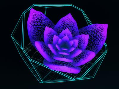 Virtual Plant Delta /// succulent interface cyber scifi cg hologram 3d ux ui houdini