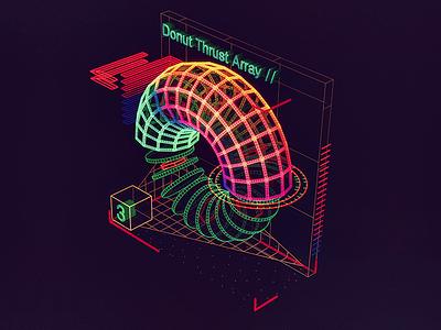 Donut Thrust Array /// 3d vr hologram scifi interface fui ui houdini