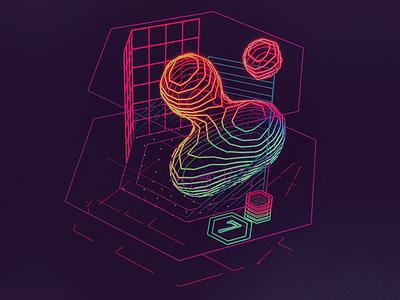 Cellular 7 /// 3d vr hologram scifi interface fui ui houdini