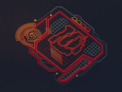 Legacy Pulse Transducer /// 3d vr hologram scifi interface fui ui houdini