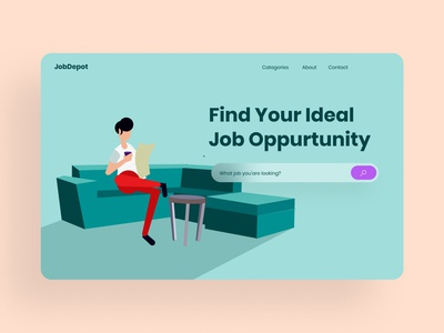 Job Hunting Hero office couch illustrations hero about search job type website illustration minimal typography web app design ui ux