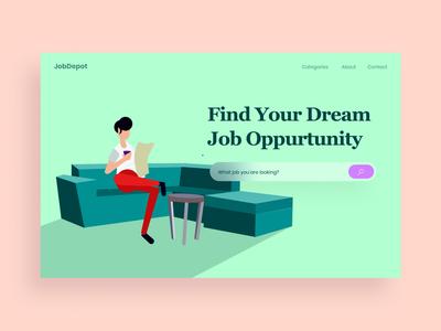Job Hero type vector illustration hero website web design ui ux