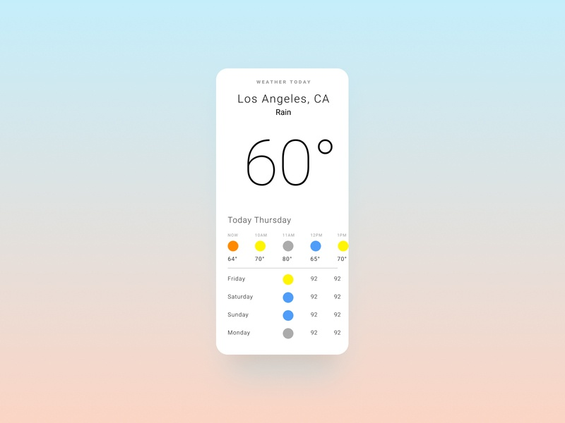 Weather App roboto colors ux mobiledesign mobile app uiux uidesign uid ui minimal sun rain iphone ios flat app design weather appdesign app android