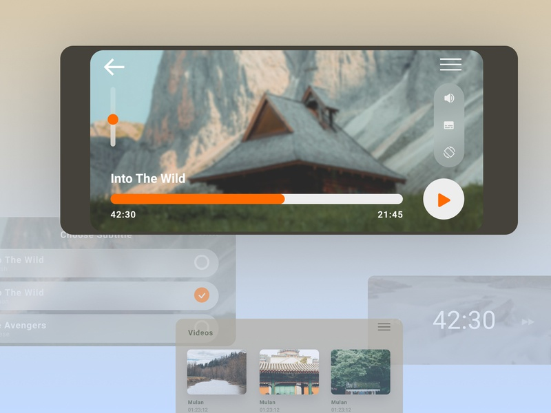 Video Player android minimal flat uid app design ui ux