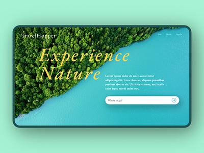 Version 2 unsplash landing hero travel nature type minimal website typography web ui design ux