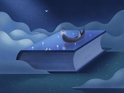 月亮书本 girl illustration