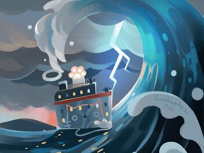 海浪 illustration
