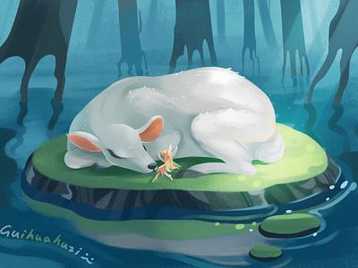白鹿 girl illustration
