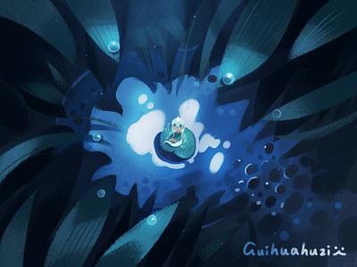 夜晚的小精灵 girl illustration