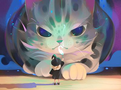 Magic cat girl design cat illustration