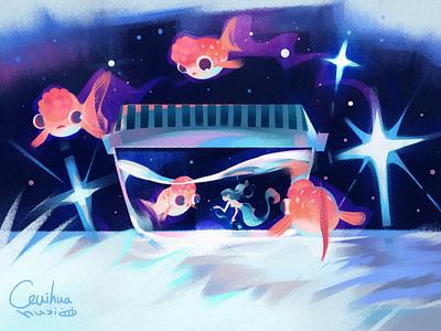 fish girl illustration