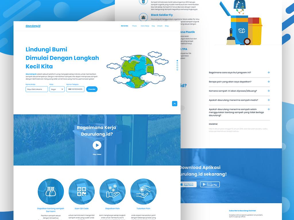Daurulang Landing Page design adobexd ux ui saveearth earth enviroment startup landing page website waste management waste