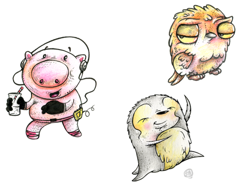 Kid's Book character concepts 2 artist character design colored pencils kids book cartoon illustration