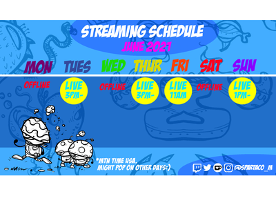 My Twitch streaming schedule artist streamers live fanart characters illustration streaming twitch