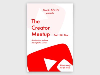 YouTube Creator Meetup Poster minimal design branding youtube poster design poster