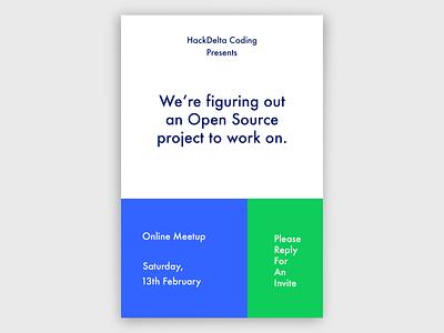 Hackathon Meetup Poster design minimal poster design branding