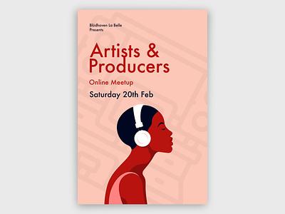 Artists & Producers Meetup Poster producer music poster minimal design poster design branding